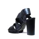 La Femme Plus Sandals Women High Heel Art. LA1-6 Calf Black Suede Black Toile