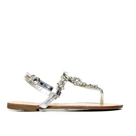 RoccoBarocco RBSC1BP02 SILVER thong sandals jewel