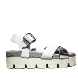 Fornarina wedge sandals Woman With Art. PEFOK8939WVHM0900 Yuki White Leather Metallich