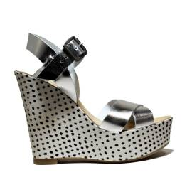 Fornarina Heel Wedge Sandals Woman With Art. PEFBX8943WMA9000 Birky Silver Metallic