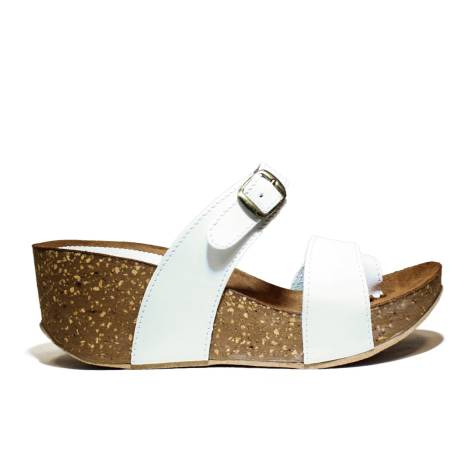 Bio Natural Wedge Medium Women Sandals Art. 170 White