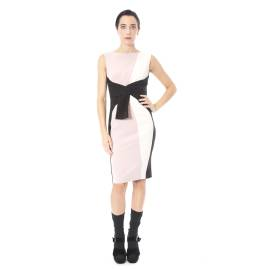 Sandro Ferrone dress woman C18 CUSIO AI17 polyester and elastane black and pink, with a sash