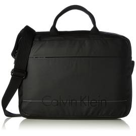 Calvin Klein laptop bag K50K502068 001 black ecoleather and smooth fabric with front logo printing and shockproof padded back