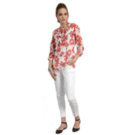 EDAS Ghila shirt with floral print white and red