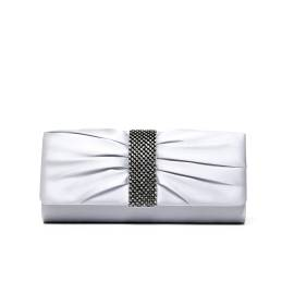 Lancetti 5244 clutch bag woman in satin silver with precious stones on the front side