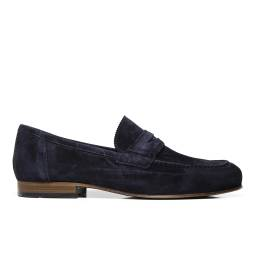 NERO GIARDINI P704880U 200 blue suede man's loafer shoes