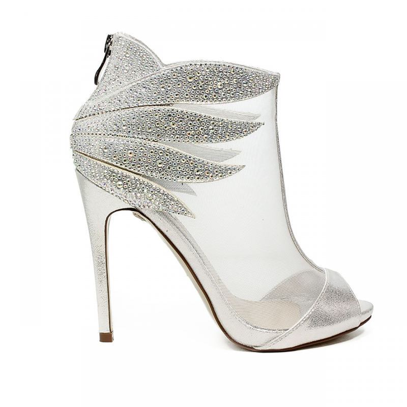 ikaros sandal ankle boot with high heels silver