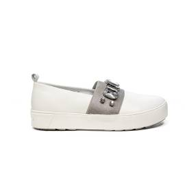 Apepazza white loafer with band silver color and stones article DLW10