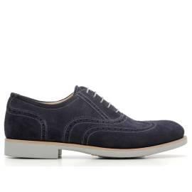 NERO GIARDINI P6 03970 U 200 BLUE LACE-UP LEATHER MAN SHOES ARTICLE
