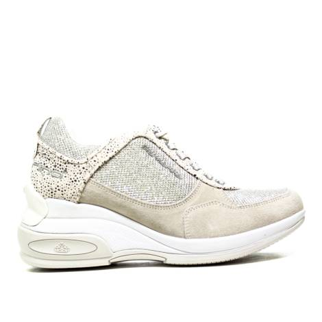 Fornarina Sneaker Wedge Beige / Silver Suede Article PEFDY7615WJA0600