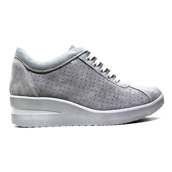 THE ONLY LINE GREY SUEDE PERFORATED