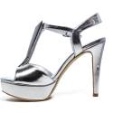 Luciano Barachini Woman Sandals Wedge Article 6243 G Silver