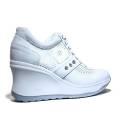 Agile by Rucoline Sneaker con Zeppa Media Alta Art. 1800-82627 1800 A Leon Bianco
