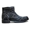 Illusion Women's Low Heel Ankle Boots Black FB256