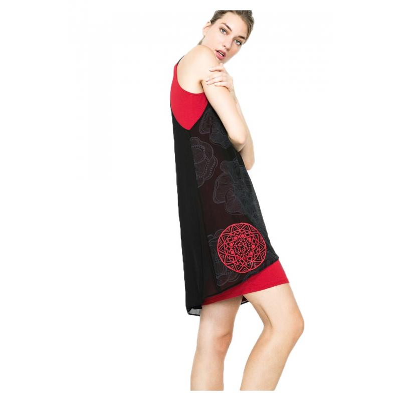 de1733515732b Desigual Vestito corto 61V28N7 2000 rosso e nero. Loading zoom
