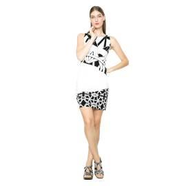 Desigual short dress 61V2LB0 1000 black white Hello