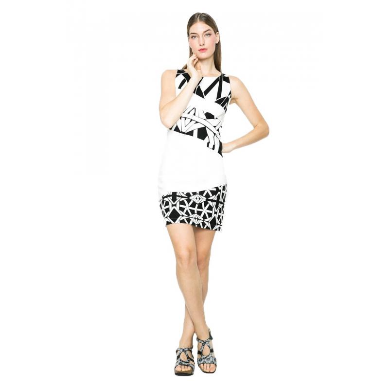 b0a39f50dfd7a Desigual Vestito corto 61V2LB0 1000 bianco e nero. Loading zoom