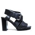 La Femme Plus Sandalo Donna Tacco Alto Art. LA1-6 Calf Black Toile Camoscio Black