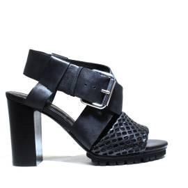 La Femme Plus Sandals Women High Heel Art. LA1-6 Calf Black Suede Black Toile