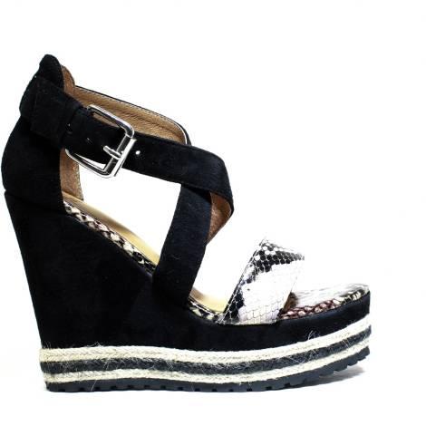 La Femme Plus Sandalo Donna Zeppa Alta Art. LA5-8 Suede Black Kaobu Natural