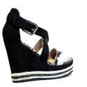 La Femme Plus Sandal Woman High Wedge Art. LA5-8 Suede Black Kaobu Natural