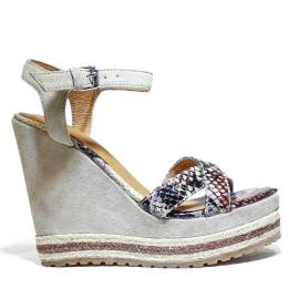 La Femme Plus Sandalo Donna Zeppa Alta Art. LA5-6 Suede Sand Kaobu Natural