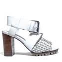 La Femme Plus Sandalo Donna Tacco Alto Art. LA1-6 Calf Black Toile Camoscio White