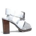 La Femme Plus Sandals Women High Heel Art. LA1-6 Calf White Suede White Toile