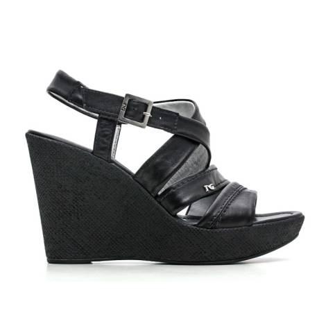 Nero Giardini Sandal wedges Woman Leather Item P615580D 100 black