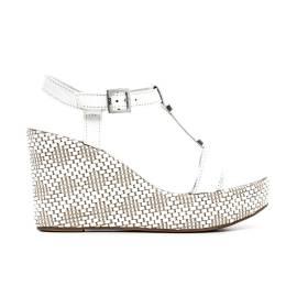 Nero Giardini Sandal wedges Woman Leather Item P615600D 707 White