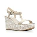 Nero Giardini Sandal wedges Woman Leather Item P615600D 410 Beige