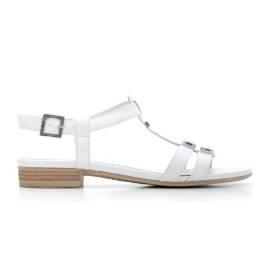 Nero Giardini Sandalo Tacco Basso Donna Pelle Articolo P615710D 701 Bianco