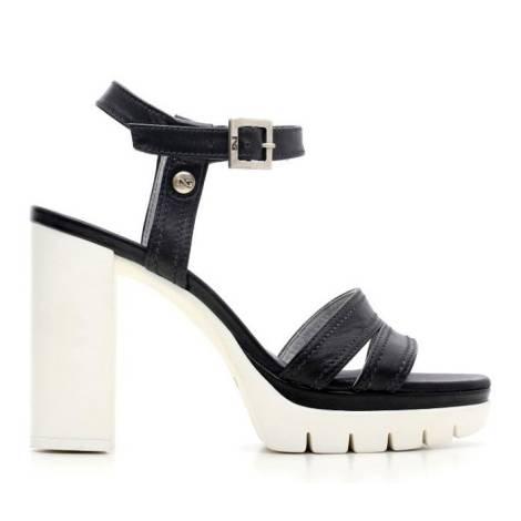 Nero Giardini Sandal High Hell Woman Leather Item P615731D 100 Black