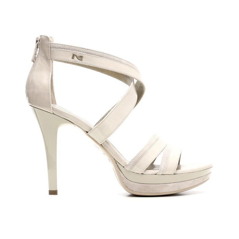 Nero giardini sandalo elegante donna tacco alto pelle - Decollete beige nero giardini ...