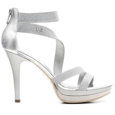 Nero Giardini Elegant Women High Heel Sandals Leather Item P615771DE 705 Silver