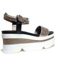 Janet Sport Sandals Woman High Wedge 37833 Sandalo Coimbra Maya Bronze Black