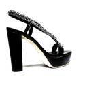Luciano Barachini Jewel Women High Heel Sandal Black 6255D