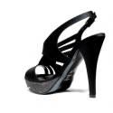 Joel Sandals Elegant Women High Heel Satin Black A398