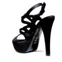 Joel Sandals Elegant Women High Heel Satin Black A541
