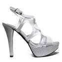 Joel Sandals Elegant Women High Heel Satin Silver A541