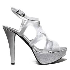 Joel Sandals Elegant Women High Heel Satin Silver A541