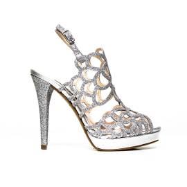Elegant high-heeled sandal Albano 7206 GLITTER SILVER