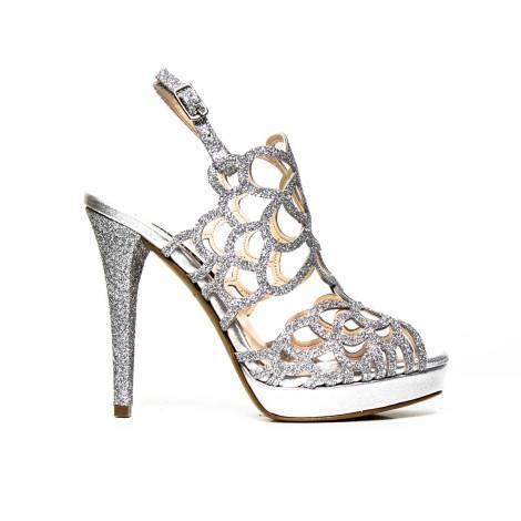Sandalo Elegante Albano con tacco alto 7206 GLITTER ARGENTO