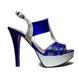 Joel Sandals Elegant Women High Heel A336 Blue Silver
