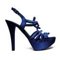 Joel Sandals Elegant Women High Heel Satin Blue A18