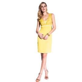 EDAS Luxury Ariosto yellow dress with lace