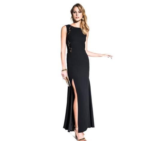 378b921eccce Abito Lungo Nero Con Pizzo ~ Edas luxury artemide abito nero lungo con pizzo