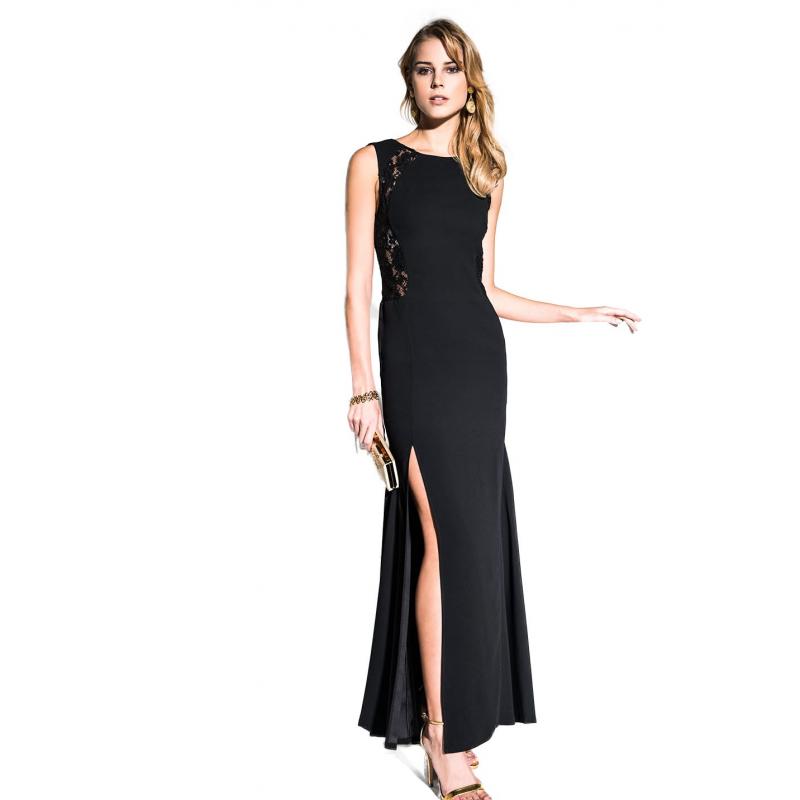 6100ae554698f EDAS Luxury Artemide abito nero lungo con pizzo