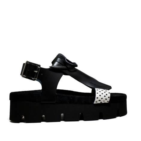 Fornarina Wedge Sandals Woman With Art. PEFOK9504WVDA100 Yuki Black/Pois Blk