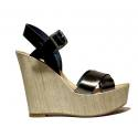 Fornarina Heel Wedge Sandals Woman With Art. PEFBX8943WHMA100 Black Steel